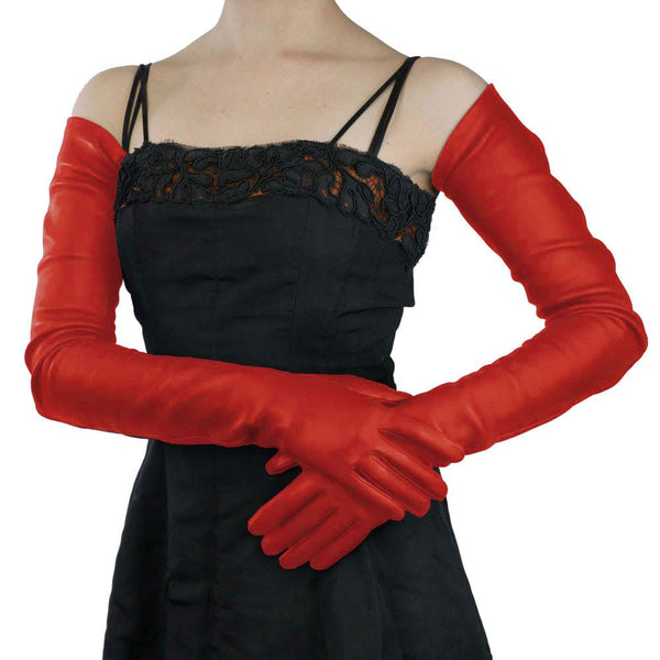 Full arm length Ferrari Red Leather Gloves- Silk Lined, 22-bt