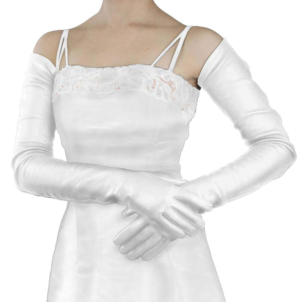 Long White Leather Gloves- Silk Lined, full arm length 22-bt