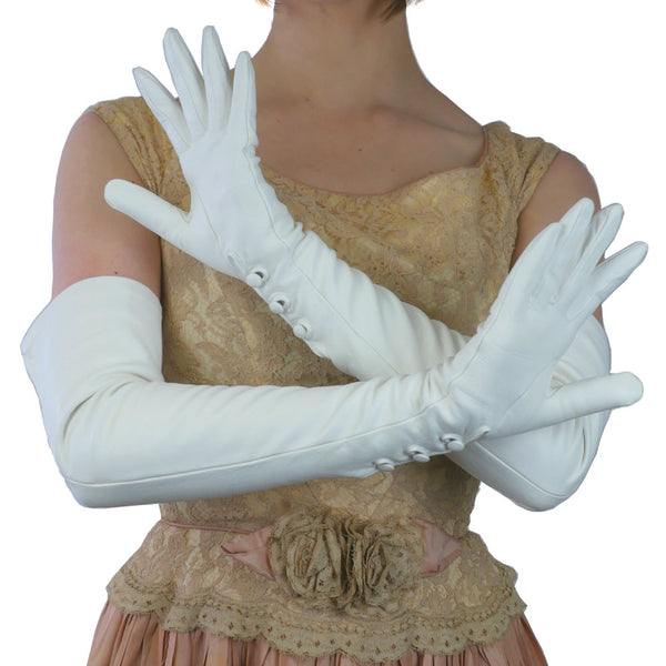White, Opera Length, 16-button Leather Gloves with 3 Buttons at the Wrist, Lined in Silk.  (NSP) - Solo Classe