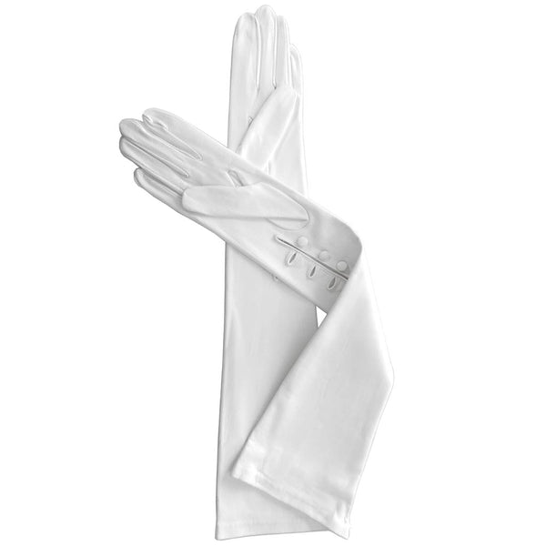 White Long Leather Gloves for Bridal, Opera and Formal Debutante