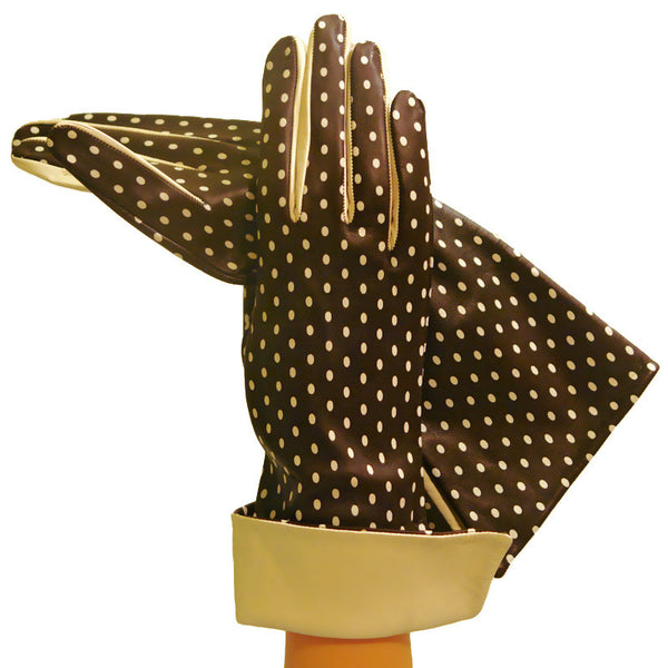Brown/Beige Self-indulgent Polka Dot Womens Silk-lined Leather Gloves - Solo Classe