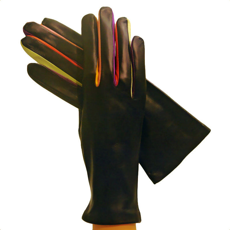 Gloves With Fingertips Out: Multi-colored Leather Gloves Cashmere-lined Arlecchino
