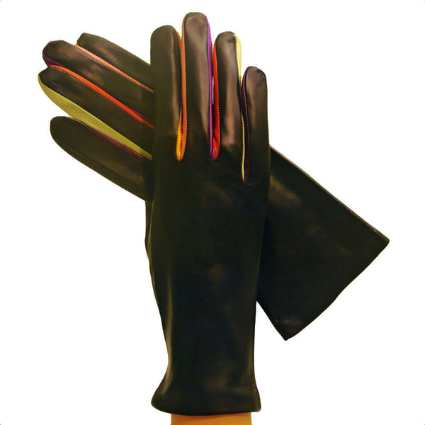Multi-colored Unique Arlecchino Womens Cashmere-lined Leather Gloves - Solo Classe