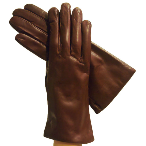 Women's Brown Italian Leather Gloves with cashmere lining - Solo Classe