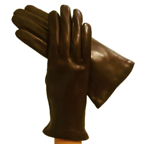 Dark Brown Womens Simple Italian Leather Gloves Cashmere-lined - Solo Classe