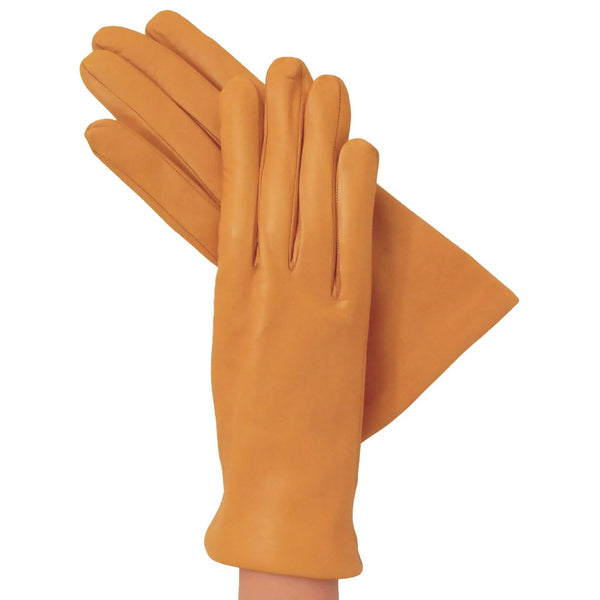 Goldenrod Womens Simple Italian Leather Gloves, Cashmere-lined - Solo Classe