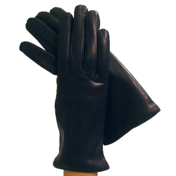 Navy Blue Cashmere-lined Womens Simple Italian Leather Gloves, - Solo Classe