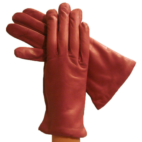 Old Rose Simple but Luxurious Italian Leather Gloves, Cashmere-lined - Solo Classe