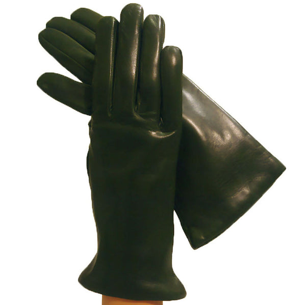 Olive Green Ladies Italian Leather Gloves, Lined in Cashmere. - Solo Classe