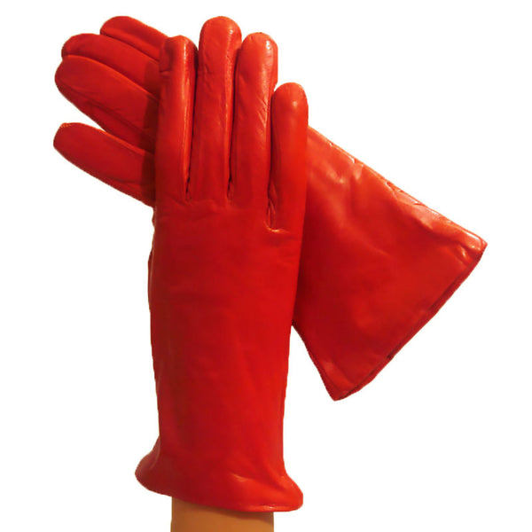 Orange Womens Cashmere-lined Simple but Elegant Italian Leather Gloves - Solo Classe