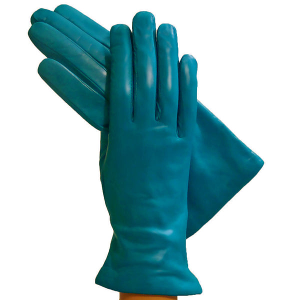 Turquoise Simple Leather Gloves, Lined in Cashmere. - Solo Classe