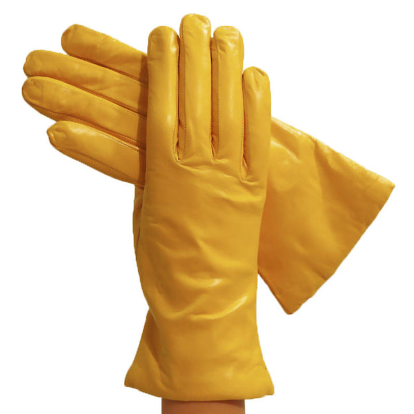 Yellow Simple Leather Gloves, Lined in Cashmere - Solo Classe