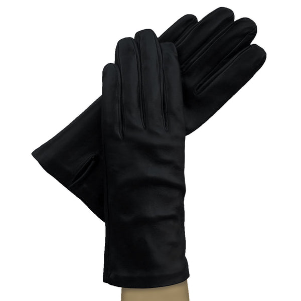 Black Classic Italian Leather Gloves, 100% Silk-lined. - Solo Classe