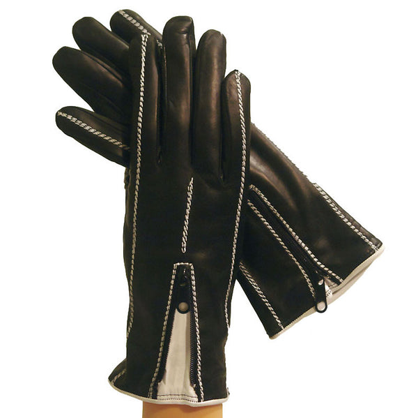 Women's Cashmere-lined Italian Leather Gloves- Black w/ white stitching, zippered