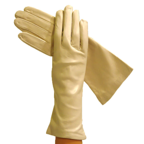 Beige, Ladies Italian Leather Gloves, Silk Lined, Elegant, 4 bt - Solo Classe