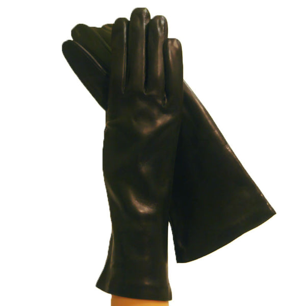 Ladies Black Elegant Italian Leather Gloves, 100% Silk-lined, 4bt. - Solo Classe