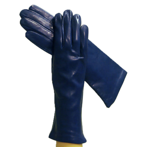 Blue Women's Luxurious Italian Leather Gloves Silk-Lined, 4-bt - Solo Classe