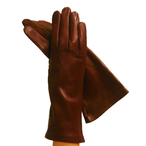 Brown, Exquisite Ladies 4-bt. Italian Leather Gloves Lined in Silk - Solo Classe