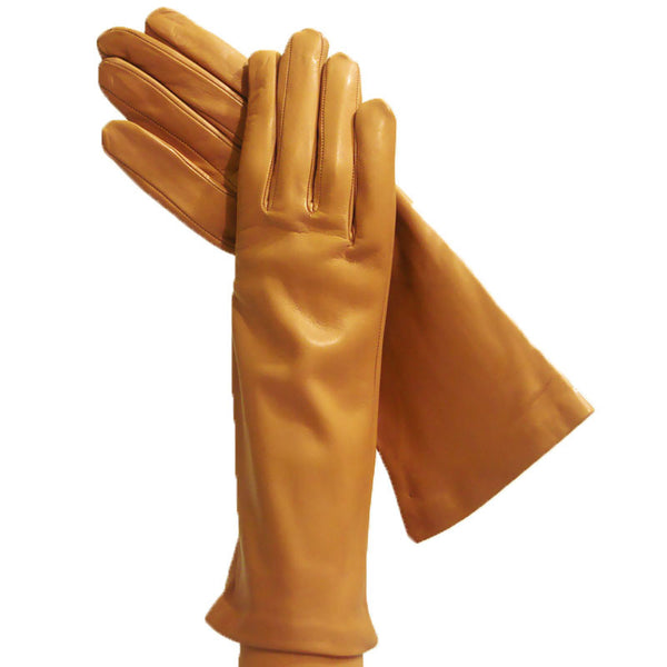 Womens Camel Italian Leather Gloves Lined in 100% Silk, 4-bt. - Solo Classe