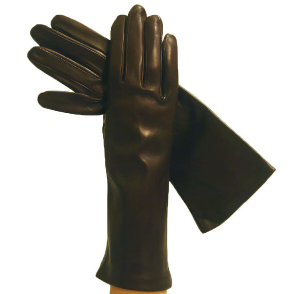 Womens Dark Brown 4-bt. Imported Italian Silk-lined Leather Gloves - Solo Classe