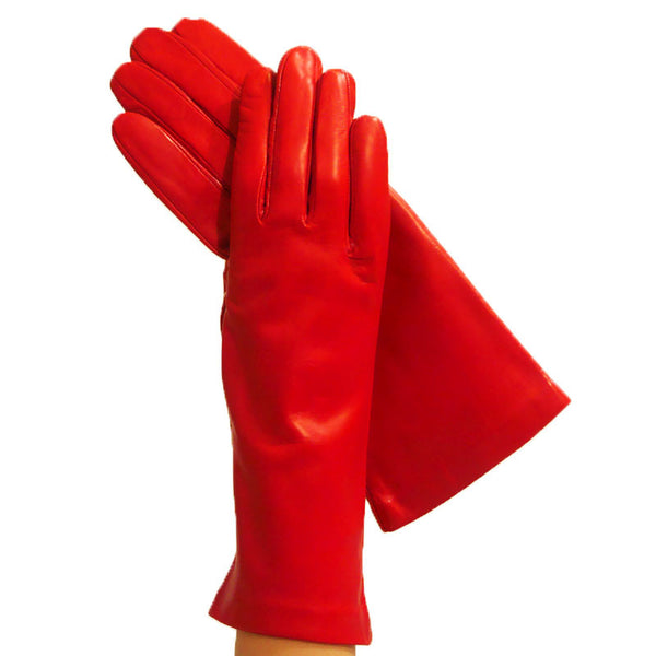 Ladies Ferrari Red 4-bt. Italian Leather Gloves, Lined in Silk - Solo Classe