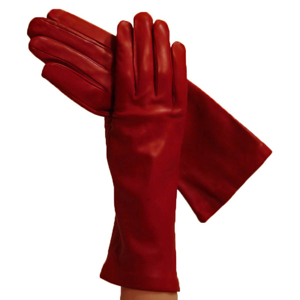 Garnet Red 4-Inch Ladies Italian Leather Gloves Silk-lined - Solo Classe