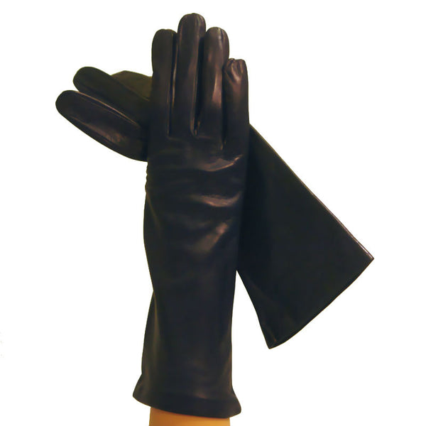 Navy Blue 4-Inch Italian Leather Gloves, Lined in Silk. - Solo Classe