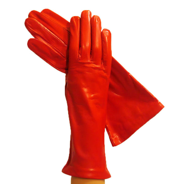 Orange 4-Inch Italian Leather Gloves, Lined in Silk. - Solo Classe