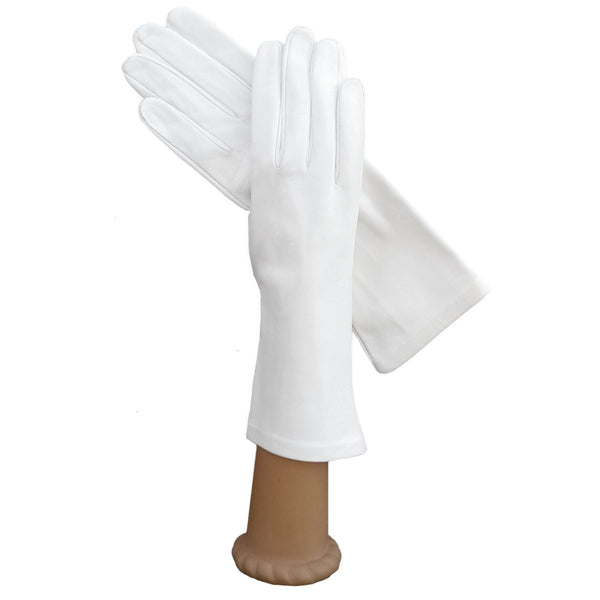 Ladies Italian Leather Gloves, Silk Lined, White, 4 bt