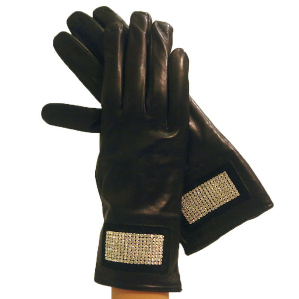 Black Leather Gloves With Rhinestones Stripe.  Lined in Cashmere. - Solo Classe