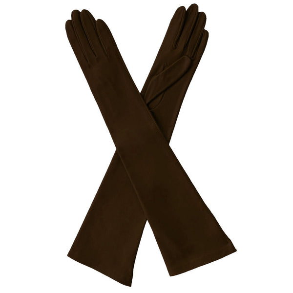 Dark Brown Elbow Length Leather Gloves. Italian Made Silk Lined, 12-button - Solo Classe
