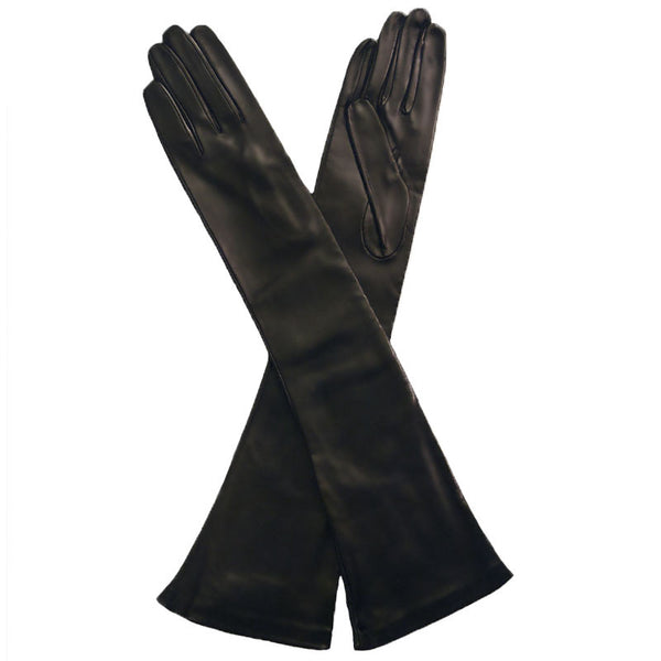 Black Elbow Length Leather Gloves. Italian Made Silk Lined, 12-button - Solo Classe