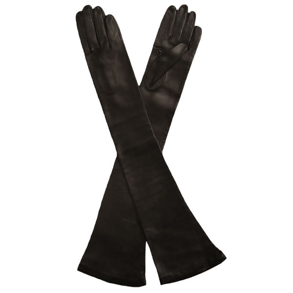 Long Black Leather Gloves Opera Length Silk Lined, 16 button - Solo Classe