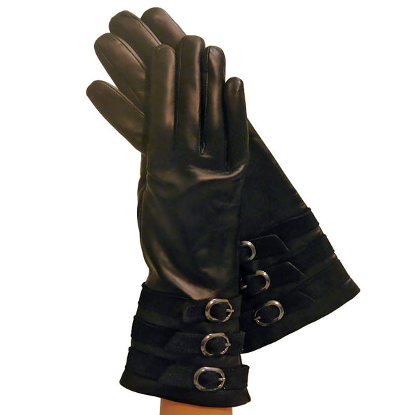 Black Cashmere lined Italian Leather Gloves with 3 Chamois Belts 4-bt. - Solo Classe