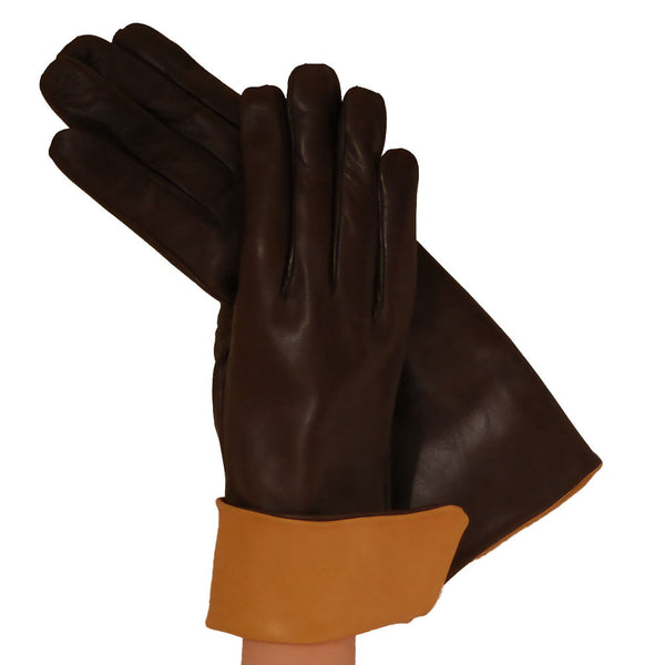 Dark Brown Womens Italian Leather Glove Goldenrod Cuff. Cashmere Lined - Solo Classe