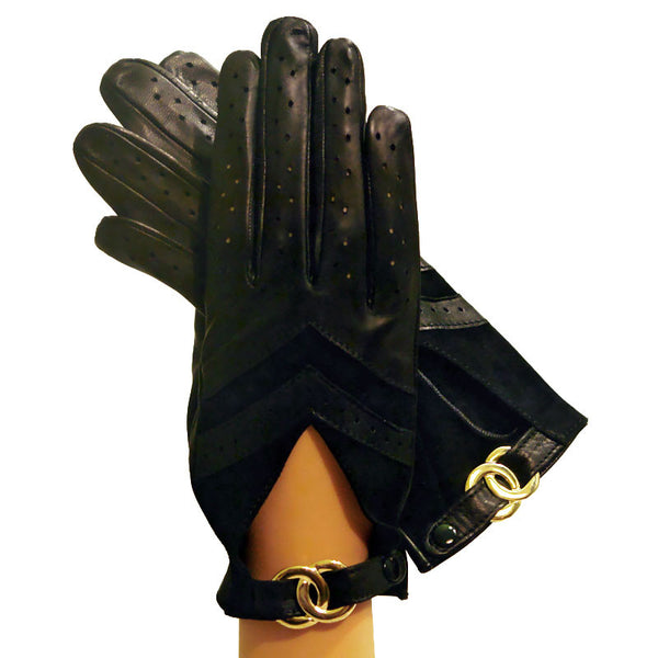 Black Women's Driving Gloves Italian Leather With Buckle. Unlined - Solo Classe