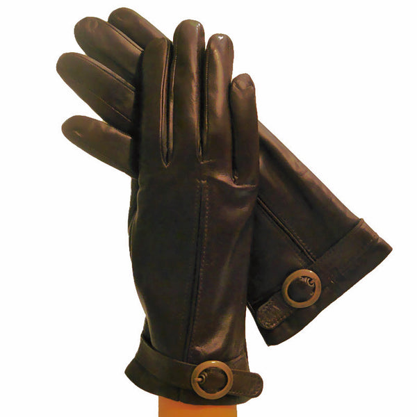 Dark Brown Italian Leather Gloves With Round Buckle Cashmere-lined - Solo Classe