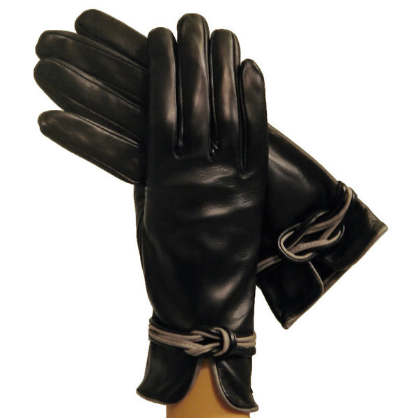 Black/Gray Refined Womens Silk-lined Italian Leather Gloves With Knot - Solo Classe