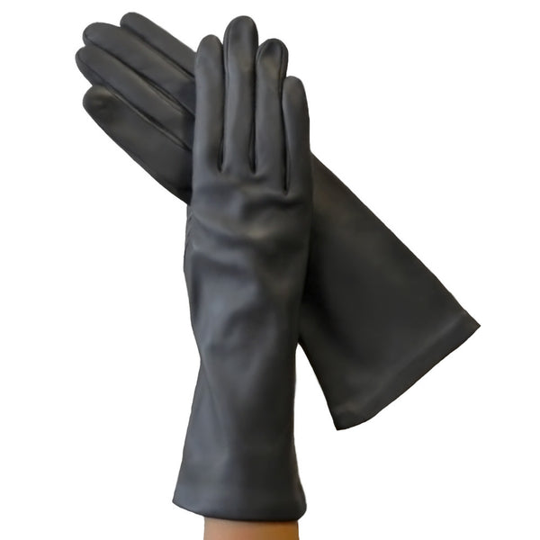 Gray 4-Inch Italian Leather Gloves, Lined in Silk. - Solo Classe
