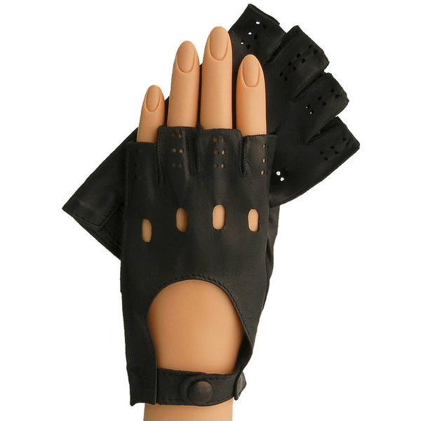 Black Half Fingers Driving Italian Leather Women's Gloves.  Unlined - Solo Classe