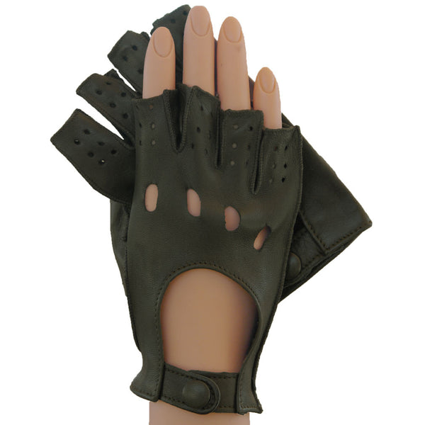 Dark Olive Half Fingers Driving Italian Leather Women's Gloves. Unlined - Solo Classe