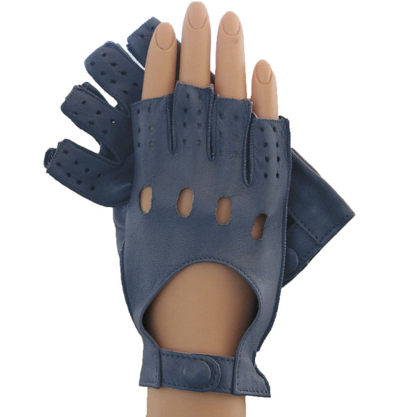 Powder Blue Half Fingers Driving Italian Leather Women's Gloves.  Unlined - Solo Classe