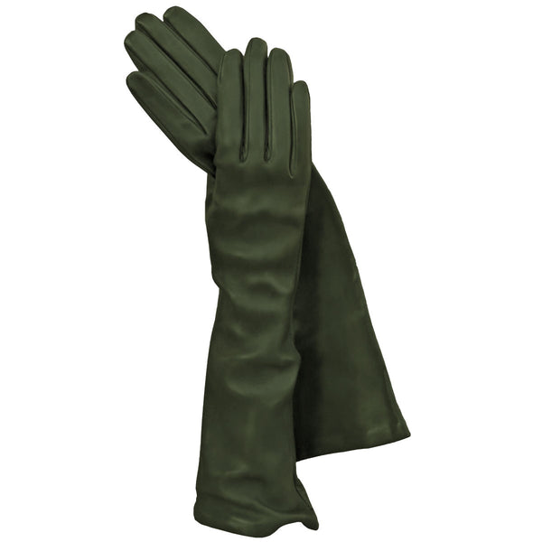 Green Long Italian Leather Gloves, Elegant, Classy Silk-lined 8-button - Solo Classe