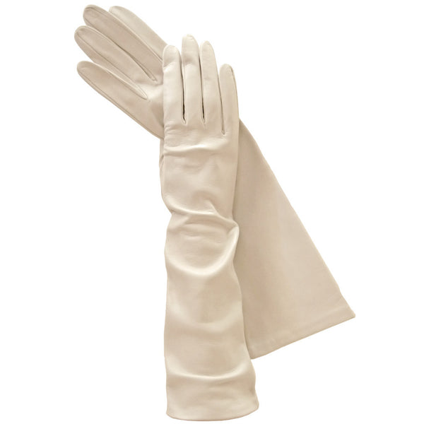 Long Beige Italian Leather Gloves, Elegant, Exotic Silk-lined 8-button - Solo Classe