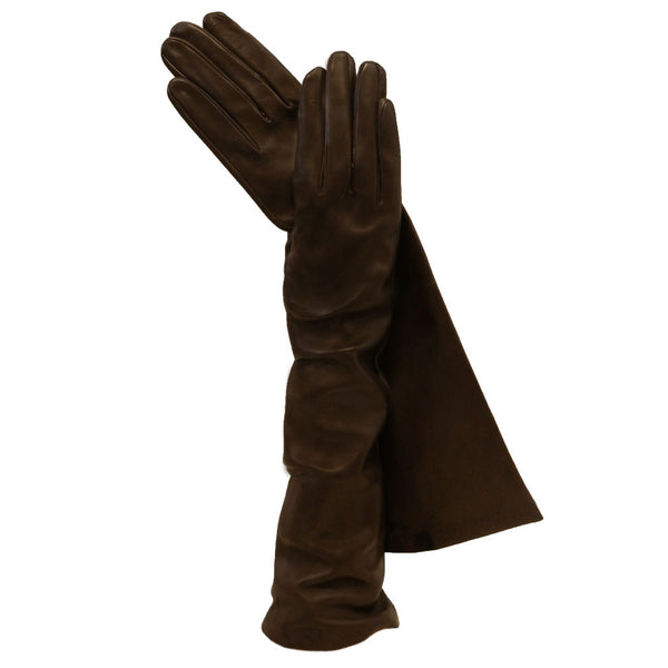 Dark Brown Long Italian Leather Gloves. Elegant Silk-lined 8-button - Solo Classe