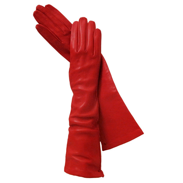 Long Red Italian Leather Gloves, Silk-lined. 8-button - Solo Classe