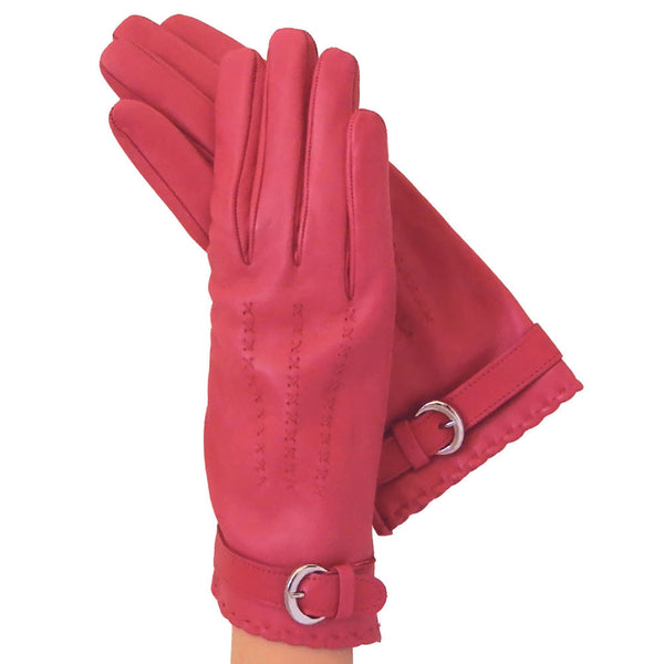 Fuchsia Leather Gloves With Belt Lined in Silk - Solo Classe