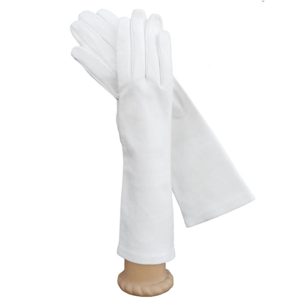White Italian Leather Gloves, Long, Elegant, Silk-lined 6-button