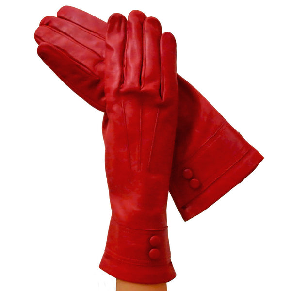 Womens Red Italian Leather Gloves With Belt. - Solo Classe