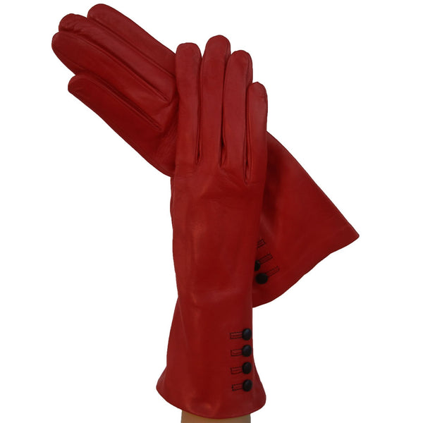 Ferrari Red w/ 4 buttons above the wrist Womens Italian Leather Gloves 4-button - Solo Classe